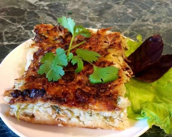 Cabbage cake with smoked brisket, feta cheese and herbs