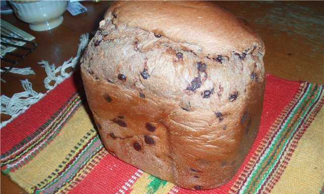 Chocolate bread with drops (pieces of chocolate) in a bread maker
