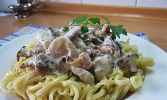Chicken fillet in a creamy sauce with chanterelles