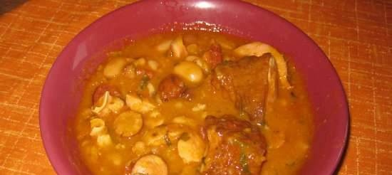 Bean mix with sausages in a slow cooker