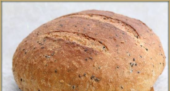 Bread with whole grain flour, flax and caraway seeds