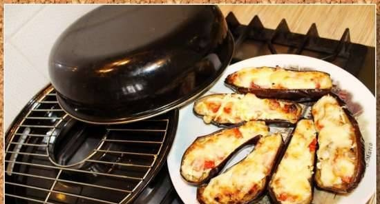 Eggplant baked with tomatoes and cheese (grill gas)