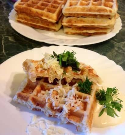 Thick meat waffles with feta cheese and herbs