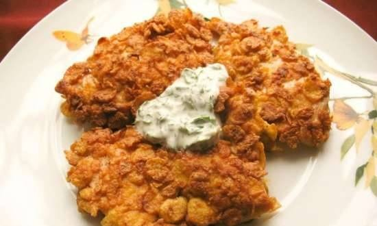 Chicken fillet in cornflakes breading with spicy sauce