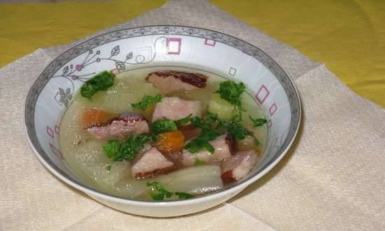 Vegetable soup with smoked meat in a multicooker Dex-60