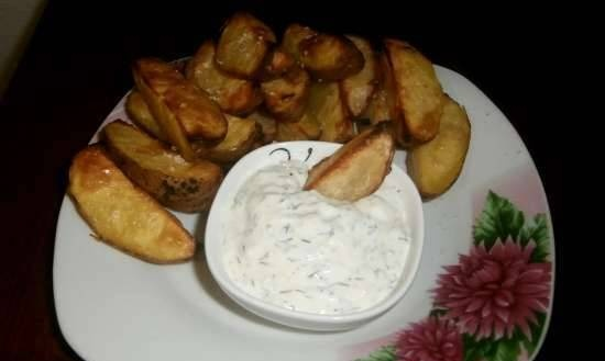 Baked potatoes with sour cream sauce (gas grill)