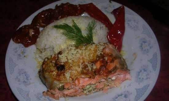 Trout with cottage cheese and herbs - grilled roll (contact grill (waffle iron) Steba PG 4.4)