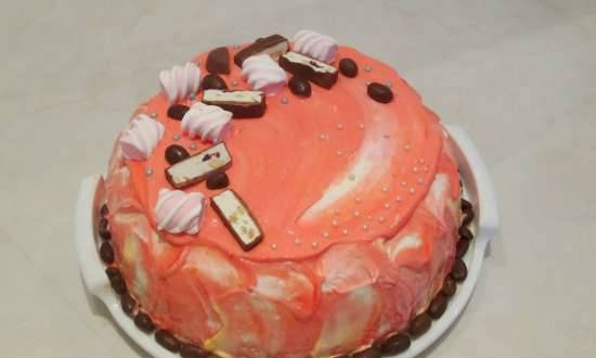 """Cake """"Tenderness"""" from choux pastry with wine cream and tangerines"""