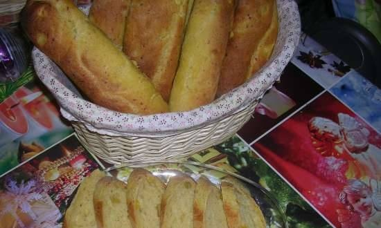 Pumpkin baguettes with cheese and mango (Moulinex 600230 bread maker)