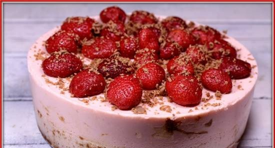 Strawberry-yoghurt biscuit cake (without eggs)