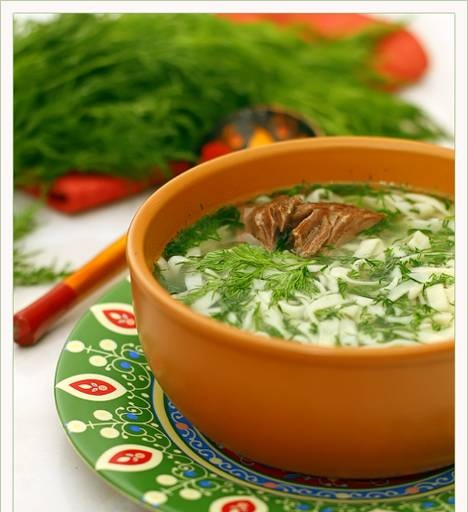 Tokmach in Tatar or homemade noodle soup