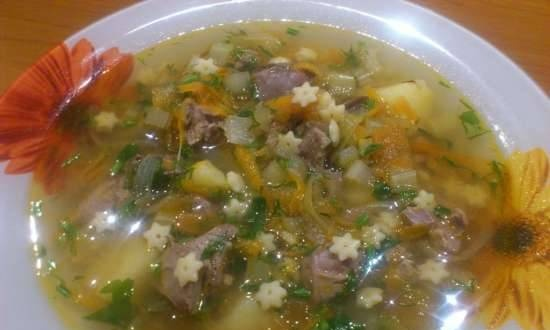 Delicious chicken liver soup with stars in the Bork U700 multicooker