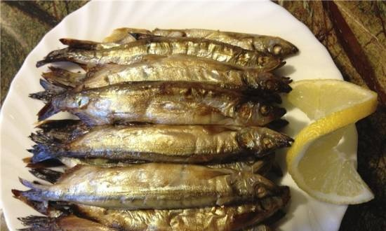 Capelin in a frying pan Grill gas
