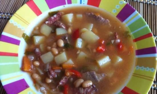 Bean soup with beef and smoked meat in a multicooker Bork U600