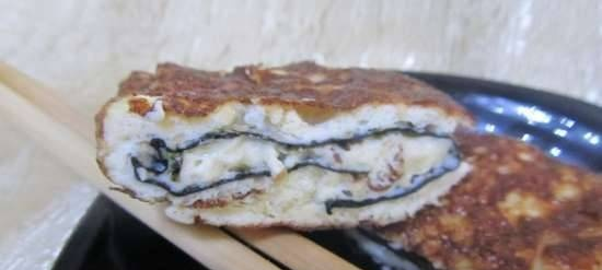 Asian-style omelet with nori and sesame seeds