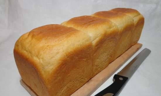 Brewed toast bread with spelled flour