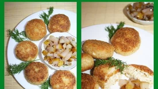 Cheese risotto cutlets with warm spicy pears