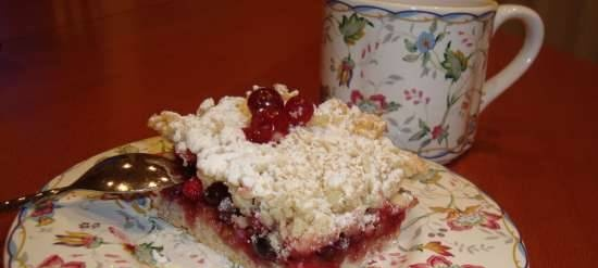 Grated pie with cranberries and lingonberries