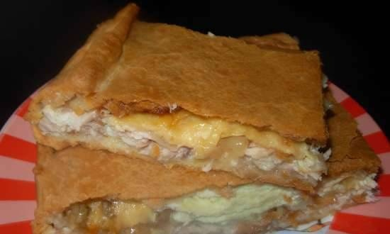 Kurnik with cheese and eggs