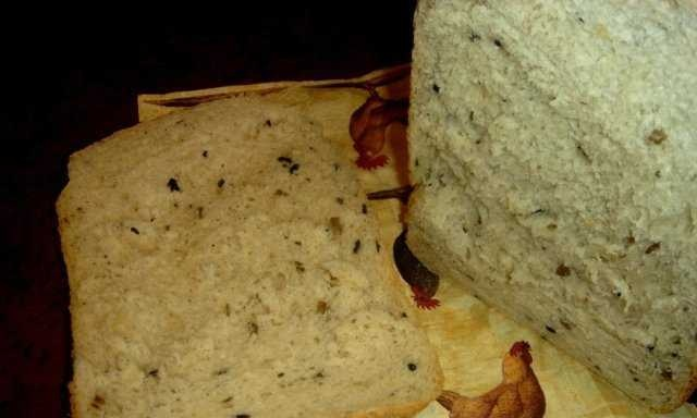 Onion bread with olives in a bread maker