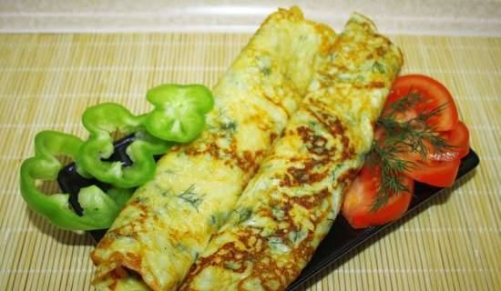 Pancakes with cheese and herbs
