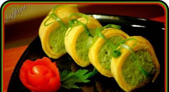 Egg roll with cream cheese and broccoli paste