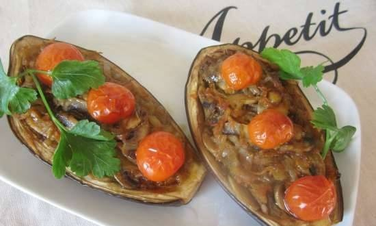 Baked eggplant with mushrooms