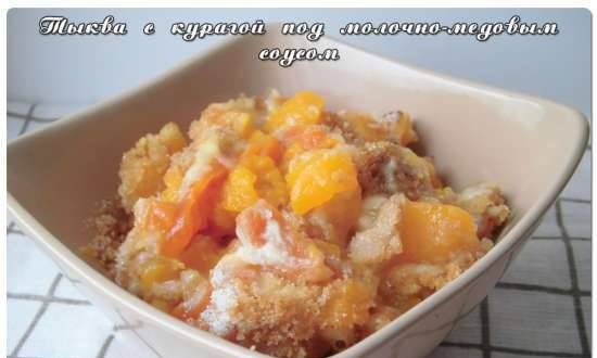 Pumpkin with dried apricots with milk-honey sauce