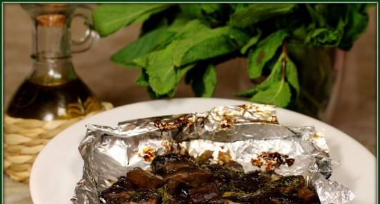 Mushrooms baked with mint