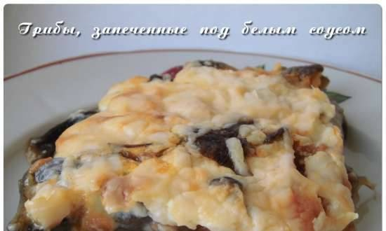 Mushrooms baked with white sauce