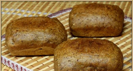 Portion Borodino bread from a mixture (Brownie maker Tristar)