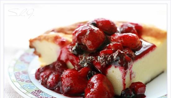 Curd casserole with berry sauce