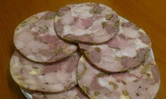 Ham with mushrooms and cheese in Tescoma ham maker