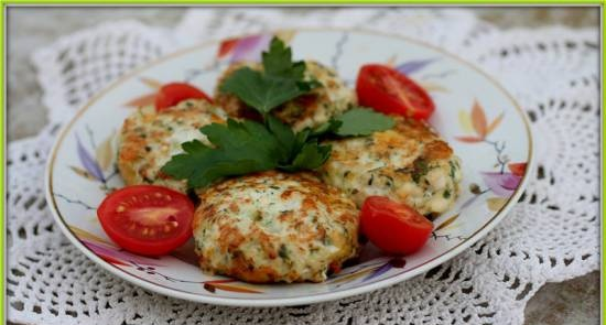 Chopped cutlets with cheese and herbs