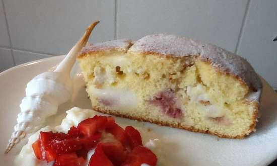 Pie with strawberries (berries) and vanilla sauce inside the dough