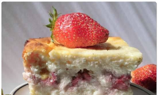 Curd casserole with strawberries