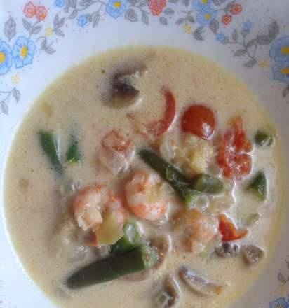 Thai style soup with shrimps and coconut milk in a multicooker BORK U700