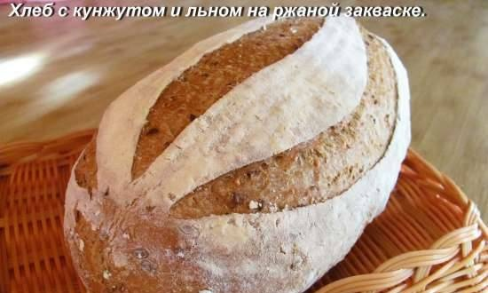 Bread with sesame and flax on rye sourdough