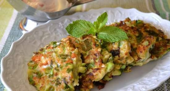 Zucchini pancakes with soft cheese