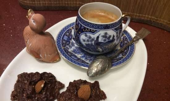 Chocolate compliment with oatmeal for coffee and tea without baking