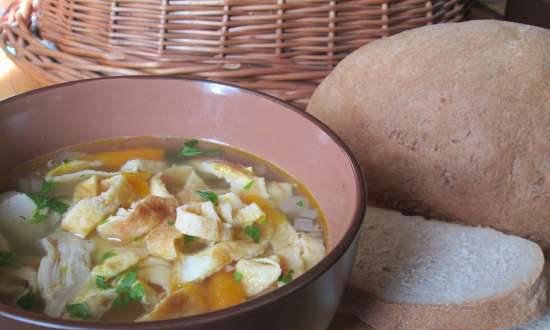 Chicken Austrian Soup with Pancakes