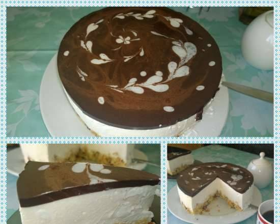 """Cake """"Bird's milk with biscuit and almond flakes"""""""