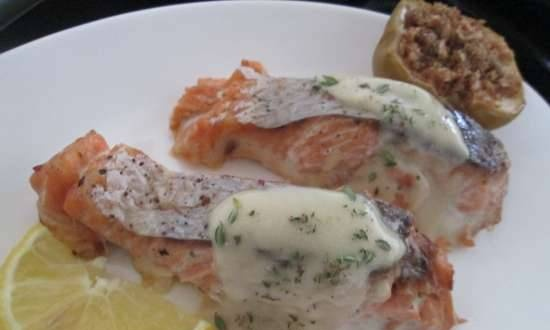 Baked salmon with apples in German