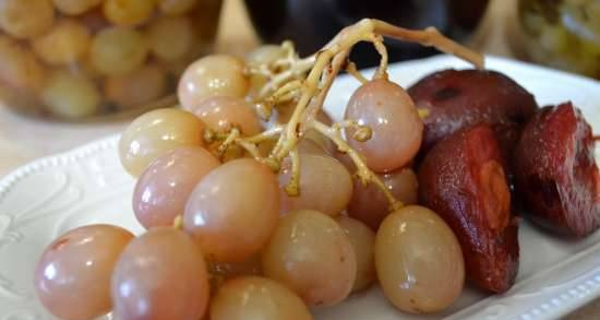 Pickled grapes and plums