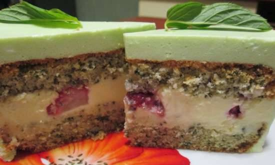 Mint cake with white chocolate and bavarian mousse