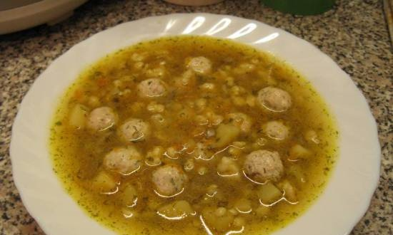 Soup with chicken meatballs and dumplings