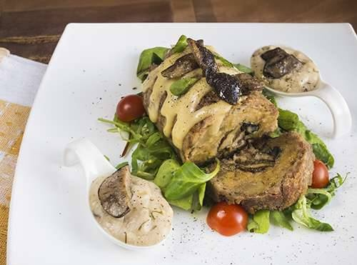 Roll with potatoes and mushrooms