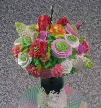 """Cake """"Bouquet in a vase"""" (master class)"""