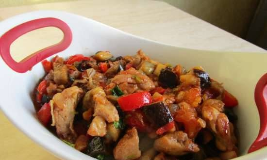Chicken fillet fried with vegetables