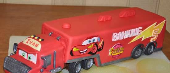 """Assembling the cake """"Trailer Mack from the cartoon Cars"""""""